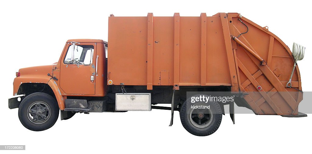 Garbage truck with clipping path : Stock Photo