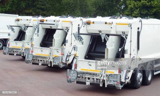 Garbage trucks ready to go out and do their work