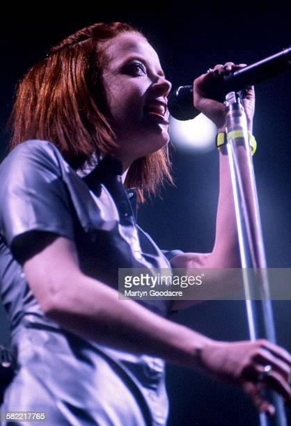 Garbage vocalist Shirley Manson performs on stage United Kingdom 1998