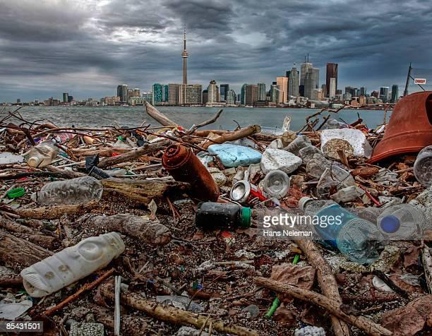garbage washed ashore on ward island, toronto  - lake ontario stock pictures, royalty-free photos & images