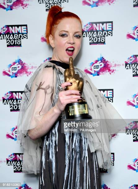 Garbage's Shirley Manson holding the NME icon award in the awards room at the VO5 NME Awards 2018 held at the O2 Brixton Academy London