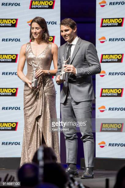Garbiñe Muguruza and Rafael Nadal receive the best sportwoman and sportman of the year award during the 70th Mundo Deportivo Gala on February 5 2018...