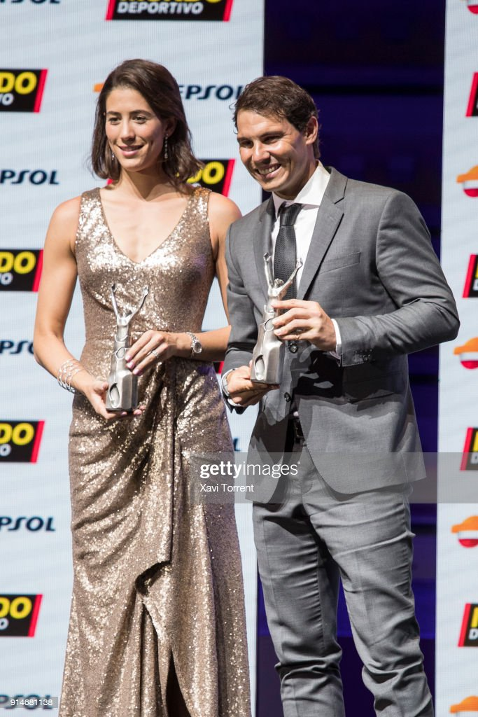 Garbiñe Muguruza and Rafael Nadal receive the best sportwoman and sportman of the year award during the 70th Mundo Deportivo Gala on February 5, 2018 in Barcelona, Spain.