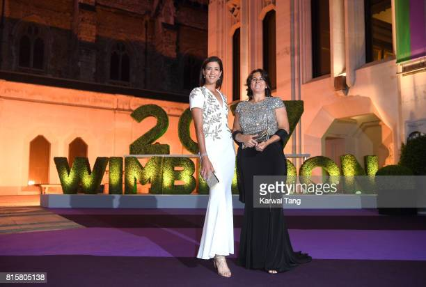 Garbine Muguruza and Conchita Martinez attend the Wimbledon Winners Dinner at The Guildhall on July 16 2017 in London England