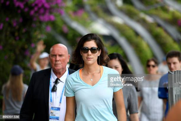Garbine Muguruza arrives at a media opportunity before walking along Streets Beach at Southbank ahead of the 2018 Brisbane International on December...