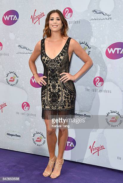 Garbine Muguruza arrives for the WTA PreWimbledon Party at Kensington Roof Gardens on June 23 2016 in London England