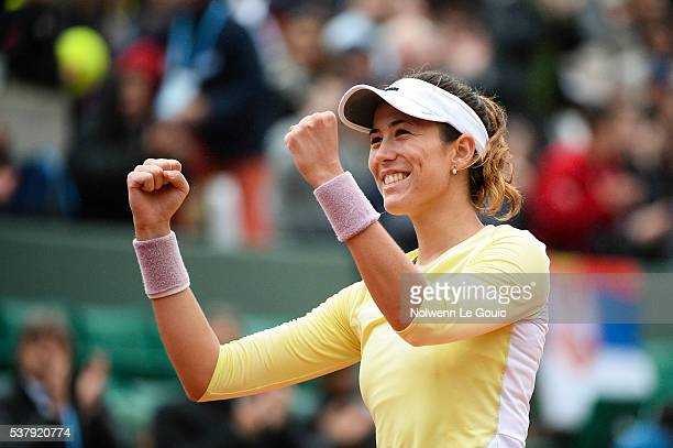 Garbine Muguruza celebrates during the day thirteen of the French Open 2016 on June 3 2016 in Paris France