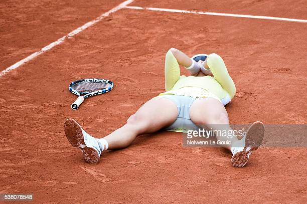 Garbine Muguruza celebrates his victory during the day fourteen of the French Open 2016 at Roland Garros on June 4 2016 in Paris France