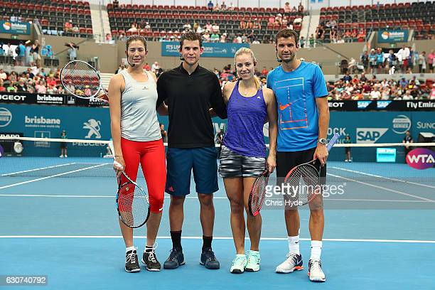 Garbine Muguruza Dominic Thiem Angelique Kerber and Grigor Dimitrov pose for photos during the Pat Rafter Arena Spectacular during day one of the...