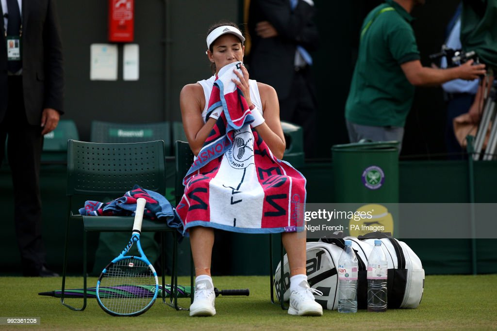 Garbine Muguruza during her match on day four of the Wimbledon Championships at the All England Lawn Tennis and Croquet Club, Wimbledon.