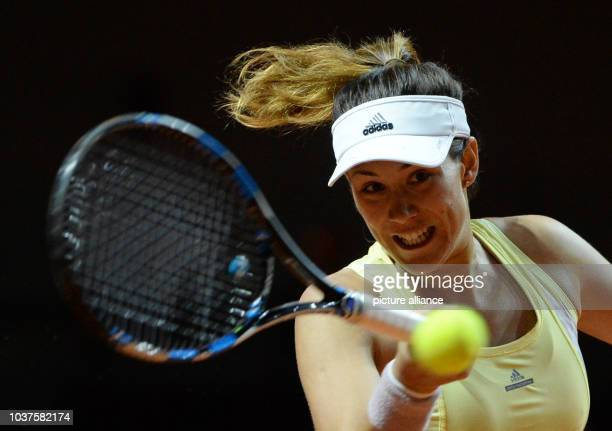 Garbine Muguruza from Spain in action against Kvitova from Czech Republic during the quarter finals of the WTA tournament in Stuttgart Germany 22...