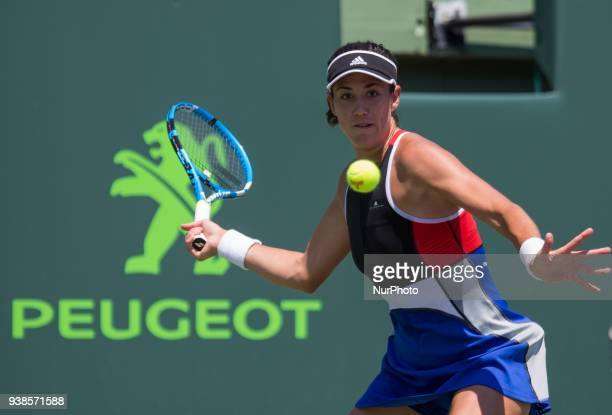 Garbine Muguruza from Spain in action against Sloane Sephens from the USA during her third roun match at the Miami Open in Key Biscayne in Key...