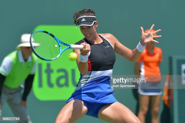 Garbine Muguruza in action here during the 2018 Miami Open on March 26 at the Tennis Center at Crandon Park in Key Biscayne FL