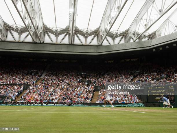 Garbine Muguruza in action winning the women's singles title at the Wimbledon Championships on July 15 2017 at the All England Lawn Tennis and...