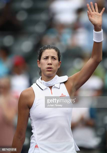 Garbine Muguruza of Spain after defeating Christina McHale of USA at Crandon Park Tennis Center on March 24 2017 in Key Biscayne Florida