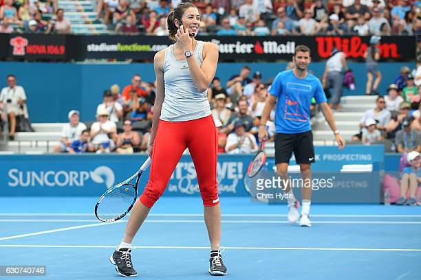 Garbine Muguruza of Spain and Grigor Dimitrov of Germany take part in the Pat Rafter Arena Spectacular during day one of the 2017 Brisbane...
