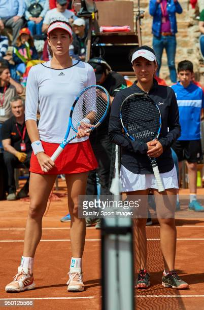 Garbine Muguruza of Spain and Veronica Cepede of Paraguay pose for a photo before their match during day two of the Fed Cup by BNP Paribas World Cup...
