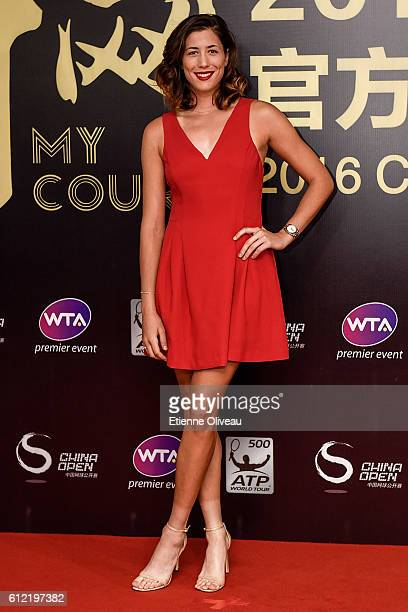 Garbine Muguruza of Spain arrives at the 2016 China Open Player Party at The Birds Nest on October 3 2016 in Beijing China