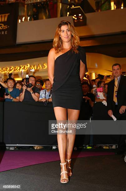 Garbine Muguruza of Spain attends the Official Draw Ceremony prior to the BNP Paribas WTA Finals at The Shoppes at Marina Bay Sands on October 23...