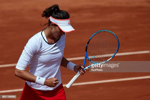 Garbine Muguruza of Spain celebrates a point in her match against Veronica Cepede Royg of Paraguay during day two of the Fedcup World Group II...