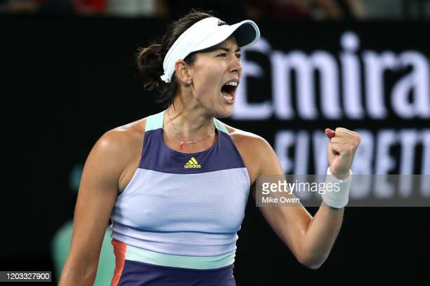 Garbine Muguruza of Spain celebrates after winning set point during her Women's Singles Final match against Sofia Kenin of the United States on day...