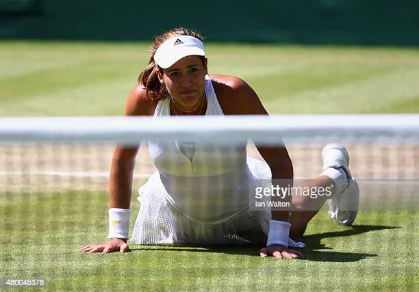 Garbine Muguruza of Spain celebrates after winning the Ladies Singles Semi Final match against Agnieszka Radwanska of Poland during day ten of the...