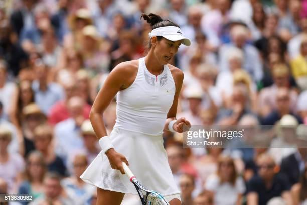 Garbine Muguruza of Spain celebrates during the Ladies Singles semi final match against Magdalena Rybarikova of Slovakia on day ten of the Wimbledon...