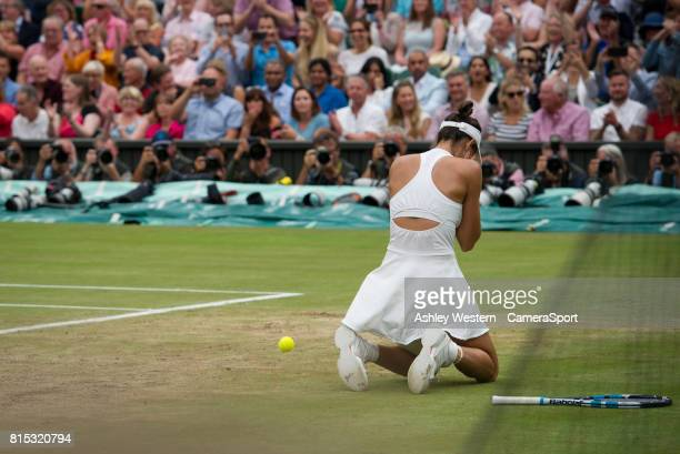 Garbine Muguruza of Spain celebrates her Match Point after her victory over Venus Williams of United States in their Ladies' Singles Final at...