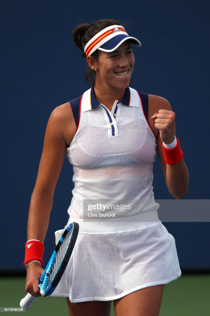 Garbine Muguruza of Spain celebrates her third round match win over Magdalena Rybarikova of Slovakia on Day Five of the 2017 US Open at the USTA Billie Jean King National Tennis Center on September 1, 2017 in the Flushing neighborhood of the Queens borough of New York City.
