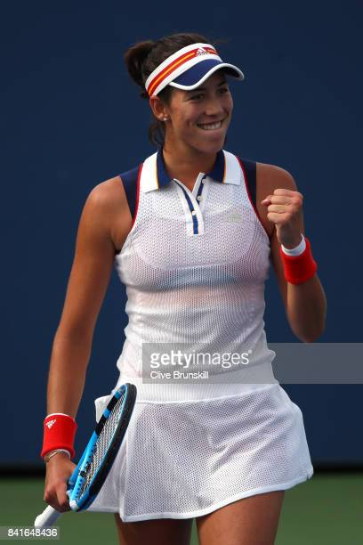 Garbine Muguruza of Spain celebrates her third round match win over Magdalena Rybarikova of Slovakia on Day Five of the 2017 US Open at the USTA...