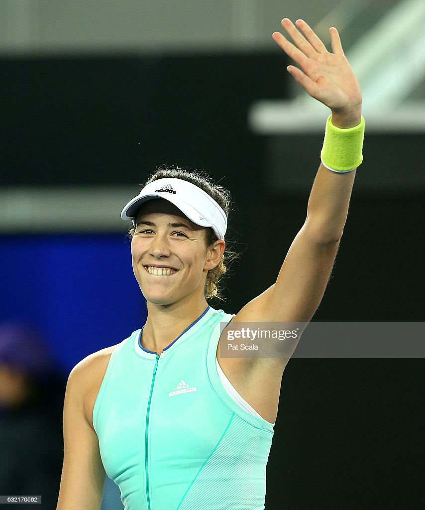 Garbine Muguruza of Spain celebrates her victory in her third round match against Anastasija Sevastova of Latvia on day five of the 2017 Australian Open at Melbourne Park on January 20, 2017 in Melbourne, Australia.