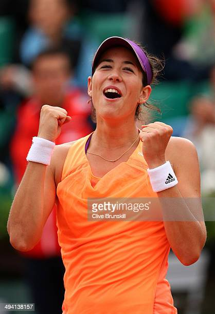 Garbine Muguruza of Spain celebrates her victory in her women's singles match against Serena Williams of the United States on day four of the French...