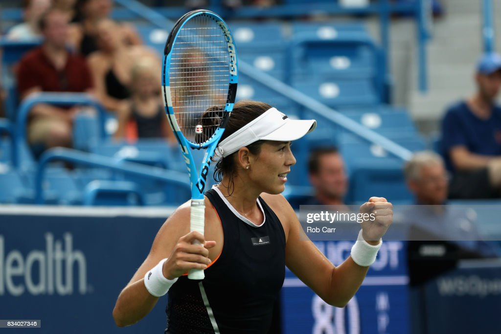 Garbine Muguruza of Spain celebrates match point after defeating Madison Keys during Day 6 of the Western and Southern Open at the Linder Family Tennis Center on August 17, 2017 in Mason, Ohio.