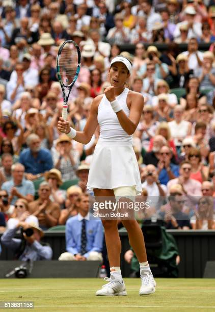 Garbine Muguruza of Spain celebrates match point and victory during the Ladies Singles semi final match against Magdalena Rybarikova of Slovakia on...