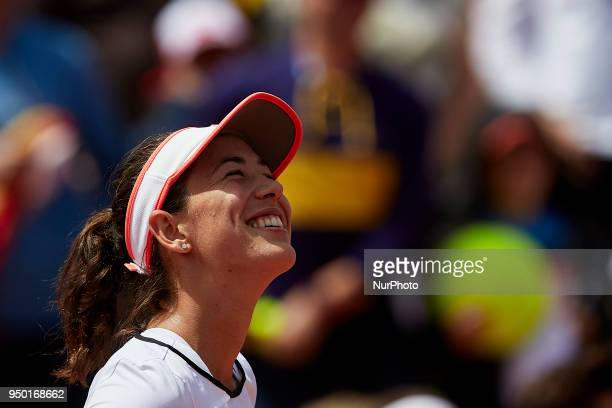 Garbine Muguruza of Spain celebrates the victory in her match against Veronica Cepede Royg of Paraguay during day two of the Fedcup World Group II...