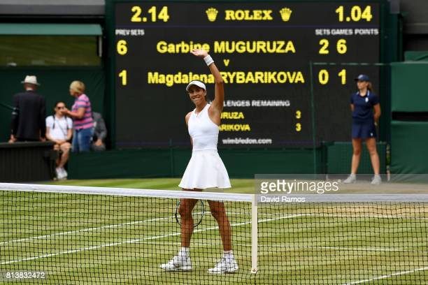 Garbine Muguruza of Spain celebrates victory after the Ladies Singles semi final match against Magdalena Rybarikova of Slovakia on day ten of the...