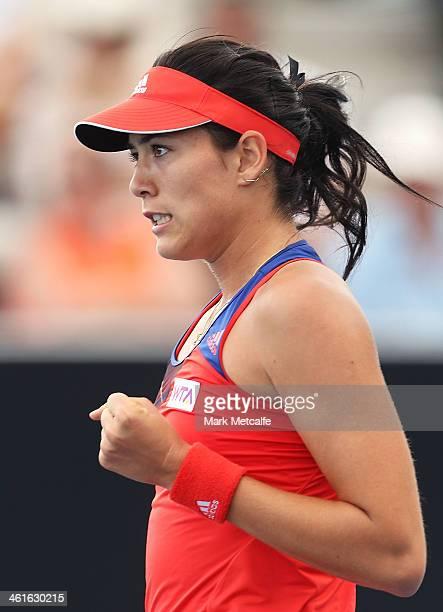 Garbine Muguruza of Spain celebrates winning a point in her semi final match against Estrella Cabeza Candela of Spain during day six of the Moorilla...