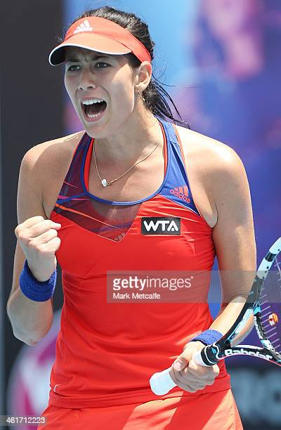 Garbine Muguruza of Spain celebrates winning set point in her singles final match against Klara Zakopalova of the Czech Republic during day seven of...