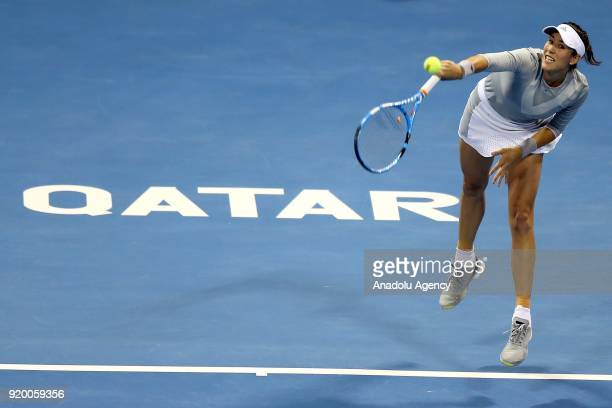 Garbine Muguruza of Spain competes against Petra Kvitova of Czech Republic during 2018 WTA Qatar Total Open final of the women's singles match at...
