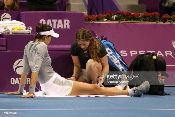 Garbine Muguruza of Spain competes against Petra Kvitova of Czech Republic during 2018 WTA Qatar Total Open final of the women's singles match at...