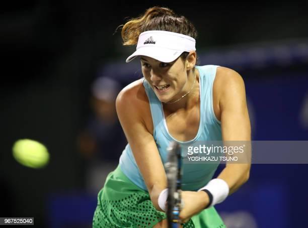 Garbine Muguruza of Spain during the second round of the Toray Pan Pacific Open tennis championships in Tokyo on September 22 2016 Muguruza defeated...