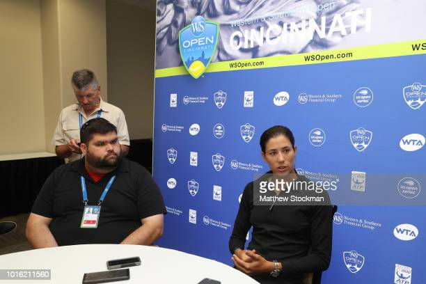 Garbine Muguruza of Spain fields questions at the WTA All Access Hour during the Western Southern Open at Lindner Family Tennis Center on August 13...