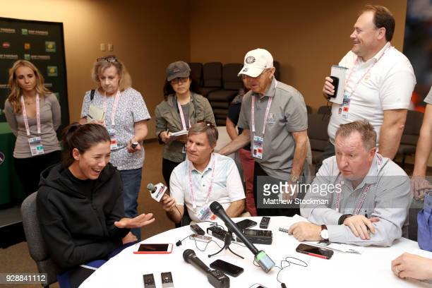 Garbine Muguruza of Spain fields questions from the media at the WTA All Access Hour during the BNP Paribas Open at the Indian Wells Tennis Garden on...