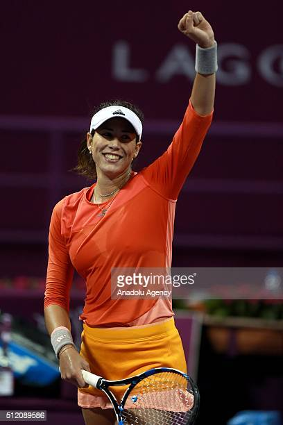 Garbine Muguruza of Spain gestures during the match against Timea Babos of Hungary during the women's singles Qatar Open tennis tournament on...