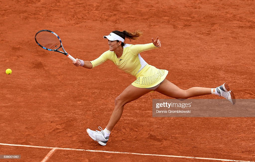 Garbine Muguruza of Spain hits a forehand during the Ladies Singles final match against Serena Williams of the United States on day fourteen of the 2016 French Open at Roland Garros on June 4, 2016 in Paris, France.