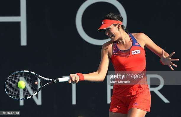 Garbine Muguruza of Spain hits a forehand in her semi final match against Estrella Cabeza Candela of Spain during day six of the Moorilla Hobart...