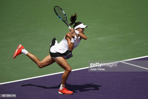 Garbine Muguruza of Spain in action against Christina McHale of USA at Crandon Park Tennis Center on March 24 2017 in Key Biscayne Florida