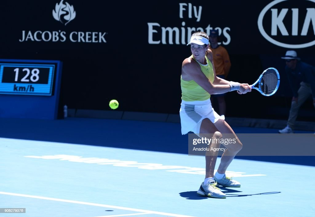 Garbine Muguruza of Spain in action against Su-Wei Hsieh (not seen) of Taiwan during the fourth day of 2018 Australia Open at Melbourne Park in Melbourne, Australia on January 18, 2018.