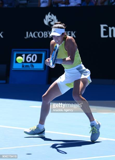 Garbine Muguruza of Spain in action against SuWei Hsieh of Taiwan during the fourth day of 2018 Australia Open at Melbourne Park in Melbourne...