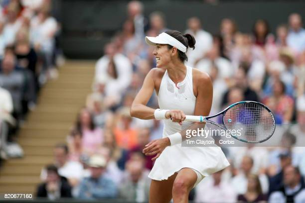 Garbine Muguruza of Spain in action against Venus Williams of The United States in the Wimbledon Lawn Tennis Championships at the All England Lawn...